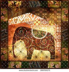 Patchwork african pattern grunge print vintage, retro background