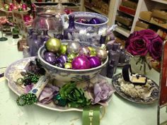 Vintage Purple Christmas Ornaments  So Chic  $2 and up  Country Garden Antiques 147 Parkhouse  Dallas, TX 75207  Read our blog: http://count...