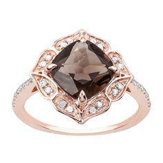 Pin it for later. Find out more chocolate diamond engagement rings. Rose Gold Vintage Style Cushion Smoky Quartz and Diamond Ring. Vintage Fashion, Vintage Style, Vintage Inspired, Smoky Quartz Ring, Wedding Rings For Women, Gemstone Colors, Round Diamonds, Diamond Engagement Rings, Diamond Cuts