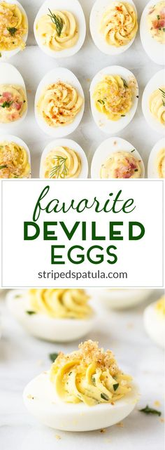 Our three favorite Deviled Egg recipes: Classic, Bacon-Horseradish-Chive, and Basil Garlic. Easy and great for entertaining!