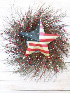Patriotic Wreath Patriotic Star Wreath Americana by Dazzlement