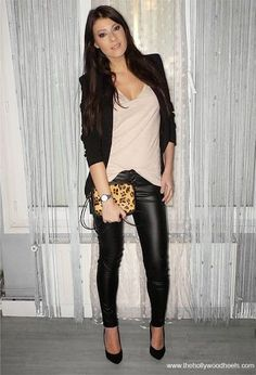 Skinny shinning black jeans, leopard bag and black blazer collection | Fashion World