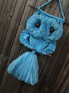 vintage 70s blue macrame knotted OWL WALL HANGING Etsy.,,,, ,I used to make these for a lot of people (me,rosi)