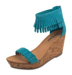 Minnetonka Women's Aqua Nicki Sandal. Aqua suede leather sandal with fringe detailing around the ankle and chain weave over the toe. Back zipper for easy on and off. Comfortable, suede-covered padded insole. Cork-wrapped wedge midsole and durable rubber outsole. Other colors available. Minnetonka Women's Sandals. http://www.moccasinsdirect.com/minnetonka-moccasins-71305-aqua-suede-nicki-sandal_p_375.html