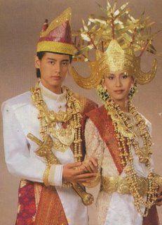 Lampung Peminggir people, Indonesia. Traditional costume.