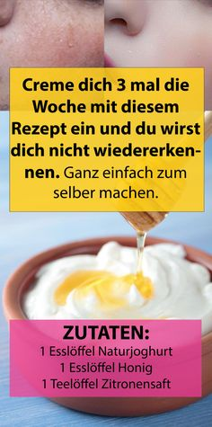 Cream yourself 3 times a week with this recipe and you& have it!- Creme dich 3 mal die Woche mit diesem Rezept ein und du wirst dich nicht wiedere… Cream 3 times a week with this recipe and you will not recognize yourself. Beauty Care, Beauty Skin, Hair Beauty, Beauty Makeup, Beauty Hacks Every Girl Should Know, Goji, Skin Tag, Natural Beauty Tips, Beauty Ideas