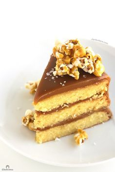 The best yellow cake you've ever had, filled and covered with the creamiest, southern-style caramel icing, sprinkled with sea salt and optional salted caramel popcorn. I pinned the entire cake image below, this is just for detail & drooling! Cupcake Recipes, Baking Recipes, Cupcake Cakes, Dessert Recipes, Pecan Pies, Whoopie Pies, Salted Caramel Popcorn, Caramel Icing, Caramel Corn