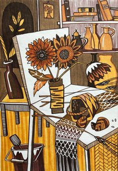 Graphic Design Illustration, Watercolor Illustration, Linocut Prints, Art Prints, Acrylic Painting Techniques, Modern Art Paintings, Cute Patterns Wallpaper, Collage, Art Lessons Elementary