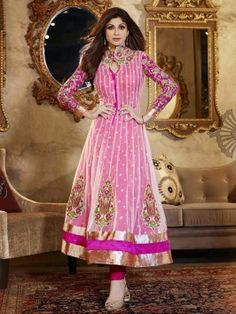 Light Pink Net Anarkali Suit With Stone Work