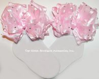Frilly Pink White Headband Organza Satin Rose Infant Baby Girls Baptism Church