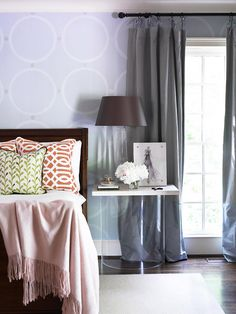 Have a serene night in this soft and comfortable bedroom: http://www.bhg.com/decorating/budget-decorating/cheap/low-cost-bedroom-updates/?socsrc=bhgpin010614updatewindowtreatments&page=6