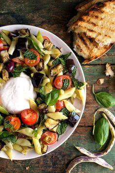 Burrata With Romano Beans and Roasted Eggplant