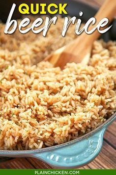 Beer Rice - recipe from my Mom's vintage cookbook from the 60s. Only 5 ingredients and it's ready in 20 minutes. Butter, rice, beer, water, and onion. Use your favorite beer for this easy side dish!! Goes with everything - chicken, pork, beef, steak, casseroles. A great weeknight side dish! #rice #sidedish #beer Rice Side Dishes, Side Dishes Easy, Side Dish Recipes, Main Dishes, Rice Recipes, Dinner Recipes, Veggie Dishes, Pasta Dishes, Vegetable Recipes