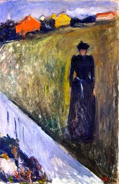 Woman in Evening Landscape Edvard Munch - 1890 BTW, Please Check Out This Artist's work: -- http://universalthroughput.imobileappsys.com/site2/gallery.php