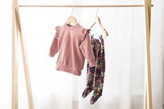 Handmade baby girl clothes. Floral footies and pretty sweater. Trendy stylish baby girl / toddler clothes / modern baby / children's clothing.