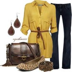 Fall outfit, mustard and jeans