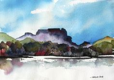 "Big Bend - Original Watercolor Painting by Charles Ash | $250 | 14""w x 10""h 