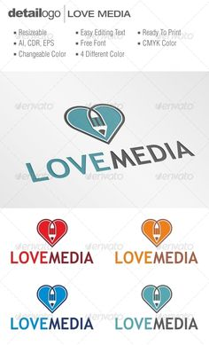Love Media ...  advertising, agency, creative, heart, ink, internet, logo, love, marketing, media, multimedia, pen, pencil, print, printing, publisher, romance, romantic, social, unique, writer