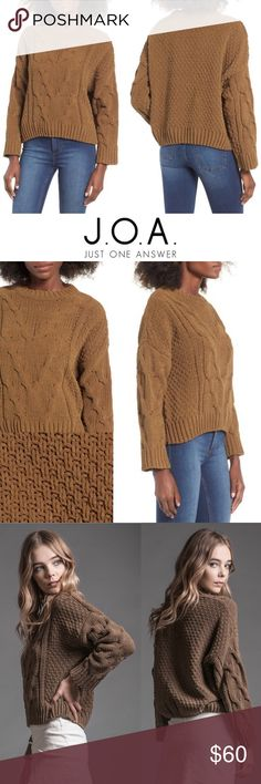 """NWOT JOA Boxy Cable Knit Pullover Sweater Olive The perfect chunky, throw-on-and-go sweater has arrived. Chevron cable knitting adds tactile dimension to this boxy, cropped look styled with slouchy dropped shoulders for a totally effortless vibe. - 22"""" length - Crewneck - Long sleeves - 100% polyester - NEVER WORN ONLY WASHED - SIZE SMALL J.O.A. Sweaters Crew & Scoop Necks"""