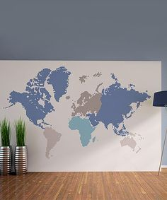 Loving this Blue World Map Wall Decal Set on #zulily! #zulilyfinds