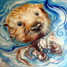 Sea Otter Swim by Marcia Baldwin Animal Paintings, Art Paintings, Animal Drawings, Art Drawings, Art And Illustration, Watercolor Animals, Watercolor Paintings, Watercolors, Sea Otter