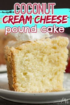 COCONUT CREAM CHEESE POUND CAKE is a soft, , easy, melt-in-your-mouth extraordinary pound cake recipe! THE VERY BEST COCONUT POUND CAKE RECIPE! Moist and tender and loaded with coconut flavor! Make it for your family and friends today - they'll rave over it!! Delicious Cake Recipes, Pound Cake Recipes, Cupcake Recipes, Yummy Cakes, Baking Recipes, Cupcake Cakes, Dessert Recipes, Yummy Food, Desserts