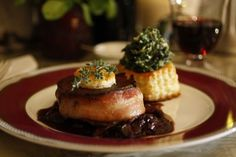 Bacon Wrapped Filet Mignon Red Wine Mushroom Sauce Spinach in Puff Pastry