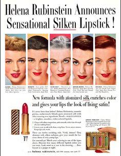 Vintage 1950 Helena Rubinstein lipstick ad