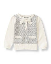 Girls Clothing Collection - Festive Fox  Charming herringbone sweater in a soft cotton blend features a half-button design with a bow accent and front pockets.49.6% Cotton/27.5% Viscose/22.9% NylonMachine Washable; ImportedFestive Fox