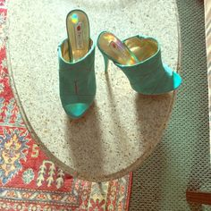 "Brand Brand newMint Green Mules reduced again Real suede 4"" heel cushioned insole just Jazzy mules Two Lips Shoes Heels"