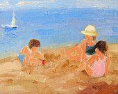 Beach Babies, children on beach original oil painting by impressionist artist, Janice Warriner