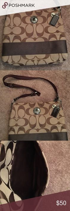 Authentic COACH Crossbody Purse Brown/Tan COACH Cross body Purse Excellent Condition! 👍🏾 very roomy inside. ☺back pocket on back of purse as shown in pic. Coach Bags Crossbody Bags