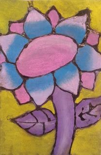 Chalk Pastels and Glue Sunflowers