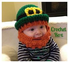 Crocheted Leprechaun hat with beard, St Patrick's day hat with beard by CrochetRox on Etsy