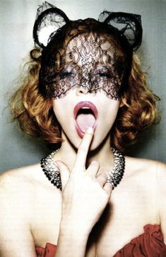 Jessica Chastain by Ellen von Unwerth For Vanity Fair August 2011 Black lace headpiece with ears and a mask Ellen Von Unwerth, Jessica Chastain, Tim Walker, Cindy Crawford, Vanity Fair, Le Clown, Magazine Mode, Lace Mask, Mario Testino
