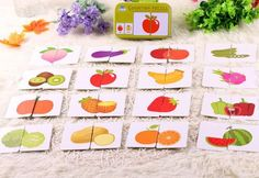 32pcs/box Kids Baby Cartoon Educational Animal Fruits Traffic Shape Pattern Graph Matching Cards Puzzles Game Toys for Children