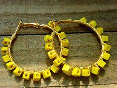 Yellow Earrings Square Hoop Earrings Lemon by ChristalDreamz