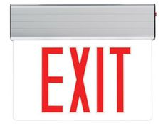 Edge Lit Exit Sign - Red LED http://www.emergencylights.net/red-edge-lit-exit-sign/