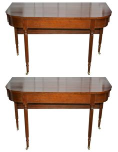 American Federal Cherrywood Two Part Dining Table OR Pair of Consoles
