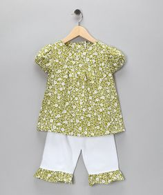 Take a look at this Green Daisies Top & Ruffle Pants - Infant, Toddler & Girls by Lil'Daisies on #zulily today!