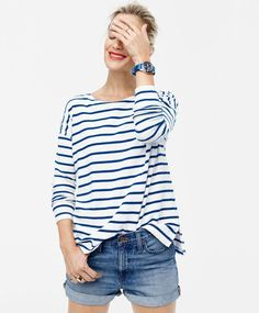 J.Crew women's deck-striped T-shirt and high-rise broken-in boyfriend short in meadow wash. To pre-order, call 800 261 7422 or email verypersonalstylist@jcrew.com.