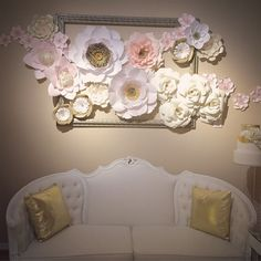 Paper flowers organically flowing out and around a gold frame. I got to install this beauty at @superfinebakery 's new tasting studio! #paperflower #paperflowers #paperart #paperroses #papercrafts #paperflowerbackdrop #handmade #art #superfinebakery #craft #blushpink