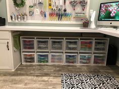 Craft room Paper iron-in vinyl storage in rubbermade or sterilite drawers with - Walmart Storage Ideas - Ideas of Walmart Storage Ideas - Craft room Paper iron-in vinyl storage in rubbermade or sterilite drawers with ikea or Walmart shelf Under Desk Storage, Ikea Storage, Craft Room Storage, Storage Drawers, Paper Storage, Office Storage, Storage Ideas, Craft Desk, Craft Rooms