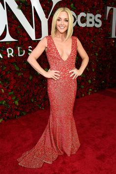 dd69b7b35a Jane Krakowski in a plunging red floral deep v neck dress at Tony Awards  2016 Red