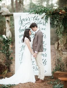 Check out this gorgeous hand lettered wedding ceremony backdrop! Wedding Dj, Wedding Book, Elegant Wedding, Perfect Wedding, Wedding Arches, Chic Wedding, Fall Wedding, Wedding Ceremony Decorations, Wedding Backdrops