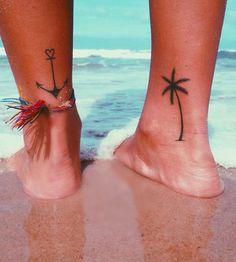 http://tattooideas247.com/ankle-tattoos/ Palm Tree & Anchor Ankle Tattoos #Anchor, #AnkleTattoos, #PalmTree