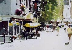 John Yardley (b. Watercolor Pictures, Watercolor Sketch, Watercolor Artists, Watercolor Landscape, Abstract Watercolor, Artist Painting, Watercolour Painting, Landscape Art, Landscape Paintings