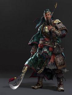 """ Guan Yu"""" ArtStation - Total War Three Kingdoms-Character design_Kingdom of Shu, Lulu Zhang Game Character Design, Character Concept, Character Art, Concept Art, Character Portraits, Fantasy Armor, Medieval Fantasy, Fantasy Illustration, Character Illustration"