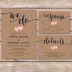 Rustic Wedding Invitation / kraft paper wedding invite set / modern vintage wedding invitation / printable digital file
