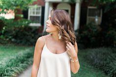 Summer Style on Glitter & Gingham // Lace Trim Dress from Zara, Leopard Heels , Rebecca Minkoff Handbag, BaubleBar Earrings